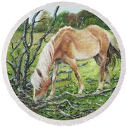 Round Beach Towel featuring the painting Horse With Burnt Tree by Martin Davey