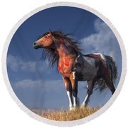 Horse With War Paint Round Beach Towel