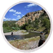 Horseback In The Gila Wilderness Round Beach Towel