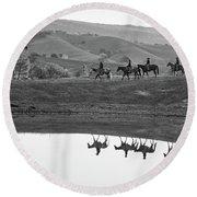 Horseback Landscape Round Beach Towel