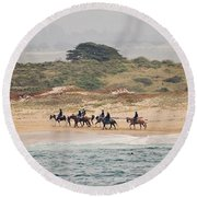 Horseback Riding On The Beach Round Beach Towel