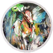 Horse,horseman And The Target Round Beach Towel by Khalid Saeed