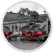 Horses And Carriages Round Beach Towel