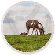 Horses And Clouds Round Beach Towel