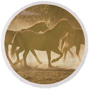Round Beach Towel featuring the photograph Horses And Dust by Ana V Ramirez