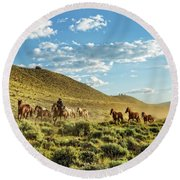 Horses And More Horses Round Beach Towel