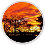 Horses And The Sky Round Beach Towel by Donald C Morgan