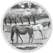 Horses And Trees In Bloom Round Beach Towel