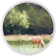 Round Beach Towel featuring the photograph Horses by Andrea Anderegg
