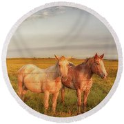 Horses At Kalae Round Beach Towel