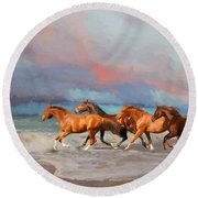 Horses At The Beach Round Beach Towel by Mim White