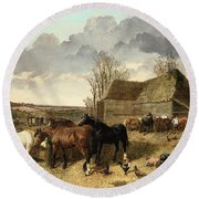 Horses Eating From A Manger, With Pigs And Chickens In A Farmyard Round Beach Towel