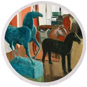 Horses Four Round Beach Towel