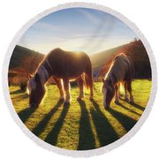 Horses In Austigarmin Round Beach Towel