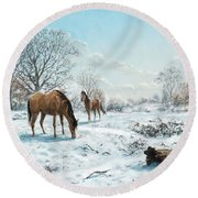 Horses In Countryside Snow Round Beach Towel