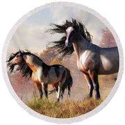 Round Beach Towel featuring the digital art Horses In Fall by Daniel Eskridge