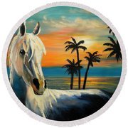 Horses In Paradise  Tell Me Your Dream Round Beach Towel