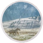Horses In The Frost Round Beach Towel