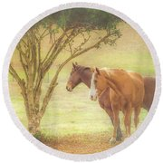 Horses In The Meadow Round Beach Towel