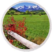 Horses In The San Juans Round Beach Towel