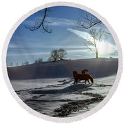 Horses In The Snow Round Beach Towel by Greg Reed