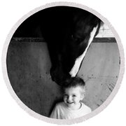 Round Beach Towel featuring the photograph Horses Love by Amanda Eberly-Kudamik