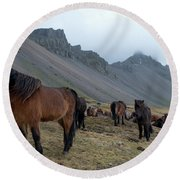 Horses Near Vestrahorn Mountain, Iceland Round Beach Towel by Dubi Roman