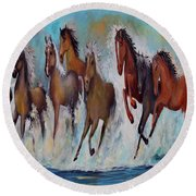 Horses Of Success Round Beach Towel