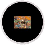 Horses Of The Ardeche Valley France Round Beach Towel by Bob Coonts