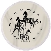 Horses Red Plate Round Beach Towel by Mary Armstrong