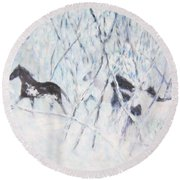 Horses Running In Ice And Snow Round Beach Towel