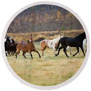 Horses Round Beach Towel