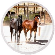 Horses Unlimited_6a Round Beach Towel