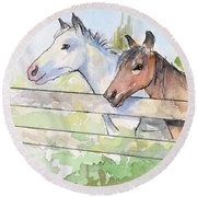 Horses Watercolor Sketch Round Beach Towel