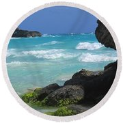 Horseshoe Bay Rocks Round Beach Towel by Ian  MacDonald