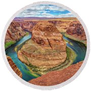 Round Beach Towel featuring the photograph Horseshoe Bend - Colorado River - Arizona by Jennifer Rondinelli Reilly - Fine Art Photography