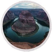 Round Beach Towel featuring the photograph Horseshoe Bend by Margaret Pitcher
