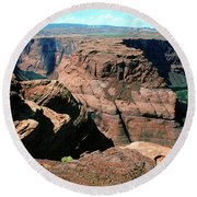 Horseshoe Bend Of The Colorado River Round Beach Towel by Wernher Krutein