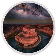 Horseshoe Bend With Milkyway Round Beach Towel