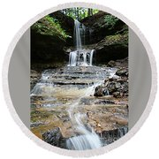 Round Beach Towel featuring the photograph Horseshoe Falls #6735 by Mark J Seefeldt