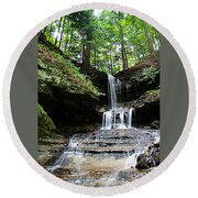 Round Beach Towel featuring the photograph Horseshoe Falls #6736 by Mark J Seefeldt
