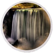 Horseshoe Falls Early Autumn No 03 Round Beach Towel