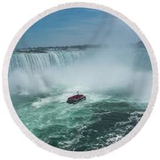 Horseshoe Falls Hornblower Round Beach Towel by Brenda Jacobs
