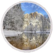 Horsetail Fall Reflections Winter Yosemite National Park Round Beach Towel