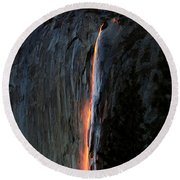 Horsetail Falls Aglow Round Beach Towel