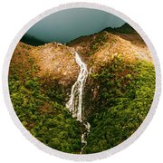Horsetail Falls In Queenstown Tasmania Round Beach Towel by Jorgo Photography - Wall Art Gallery