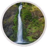 Horsetail Falls In Spring Round Beach Towel by Greg Nyquist