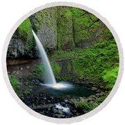 Horsetail Falls Waterfall Art By Kaylyn Franks Round Beach Towel