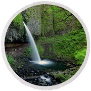 Horsetail Falls Waterfall Art By Kaylyn Franks Round Beach Towel