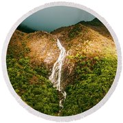 Horsetail Waterfalls Tasmania  Round Beach Towel